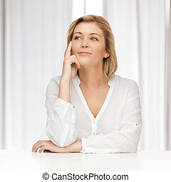 woman in casual clothes - bright picture of thoughtful woman...