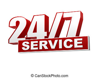24/7 service red white banner - letters and block - text...