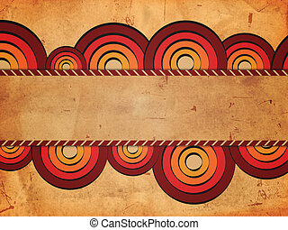 retro background with red circles and text space - vintage...