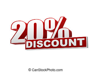 20 percentages discount red white banner - letters and block...