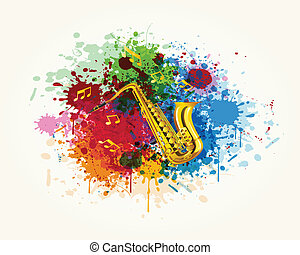Saxophone in the colorful splash - The saxophone in the...