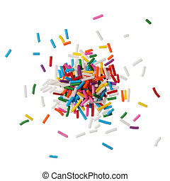 Colorful candy sprinkles isolated on white background