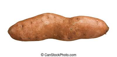 Sweet potato yam isolated on white background, close-up