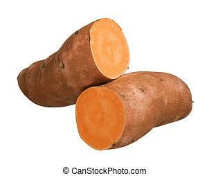 Sweet potato yam isolated on white background, close-up
