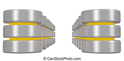 Rows of databases icon with yellow elements perspective view...
