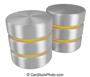 Pair of databases icon with yellow elements perspective view...