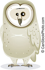 Cartoon Barn Owl Character - Illustration of a funny cute...