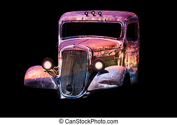 old antique classic car - old rusty junk car in vivid colors