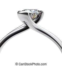 Wedding ring with diamond on white background Sign of love
