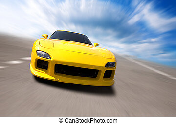 sport car - special toned and speed photo fx, focus point on...