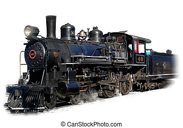 Steam locomotive - Steam engine locomotive on white...