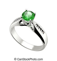 Wedding ring with diamond on white background. Sign of love....