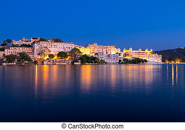 City Palace at night, Udaipur, Rajasthan, India - City...