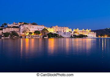 City Palace at night, Udaipur, Rajasthan, India. - City...