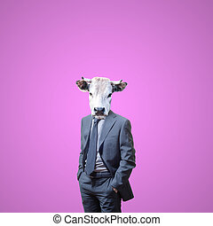 business man with bull head on pink background