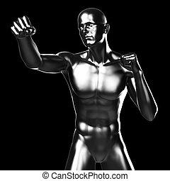 Metal fighter - 3d rendered illustration - metal fighter