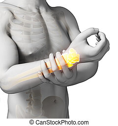 Highlighted arm/wrist - 3d rendered illustration - painful...