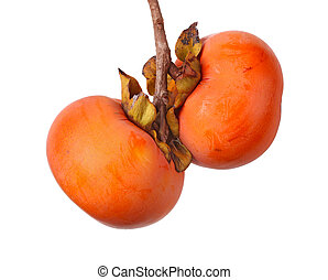 Two ripe persimmon fruits hanging from a tree