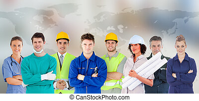 Different types of workers in a row on world map background