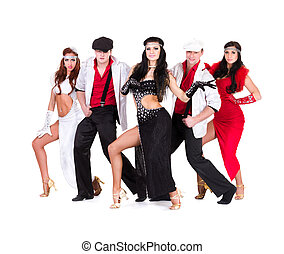 cabaret dancer team dressed in vintage costumes - cabaret...