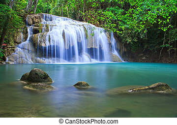 Waterfall and blue stream in the forest Kanjanaburi Thailand...