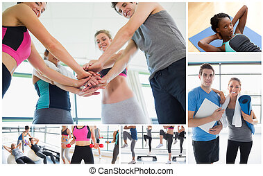 Collage of people at the gym exercising alone and together