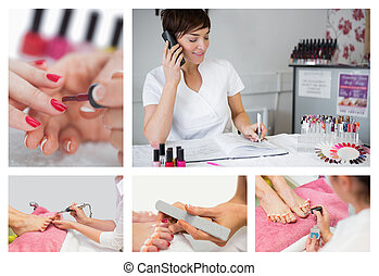 Collage of nail salon situations with manicures pedicures...
