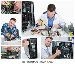 Collage of computer technician at work - Collage of smiling...