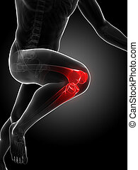 Highlighted runners joints - 3d rendered illustration -...