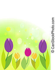 Tulips on green bokeh. Spring background.