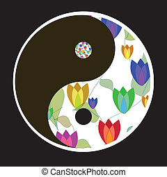 Yin - Yang - the symbol of harmony with flowers