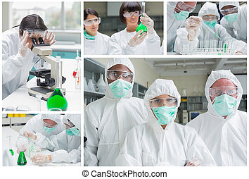 Collage of laboratory workers