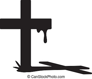 Cross silhouette - Vector cross silhouette with blood and...