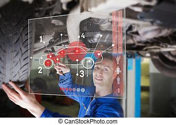 interfaz, coche, el consultar, mecánico, debajo