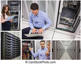 Collage of data center workers - Collage of data center...
