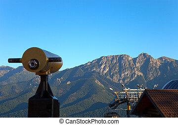 Giewont a mountain massif - Telescope on focus over mountain...