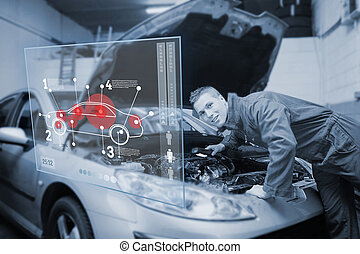 Mechanic with open hood consulting interface in black and...