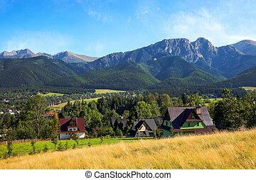 View of Giewont mountain from Gubalowka - Zakopane, Poland.