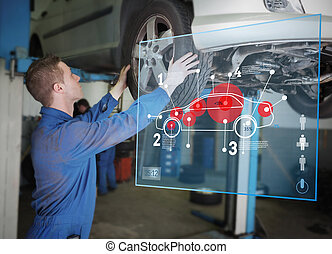 Mechanic checking wheel of a car helped by interface -...