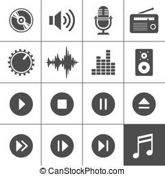 música, som, ícones, -, Simplus, série