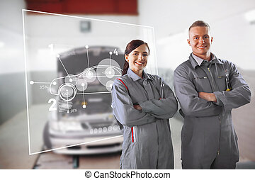 Two mechanics standing in front of a futuristic interface in...