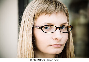 young woman with glasses - special toned photo f/x, focus...
