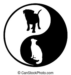 Yin Yang Dog Cat - Illustration of a Yin Yang symbol with a...