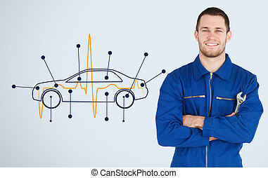 Portrait of a young mechanic next to background with car...
