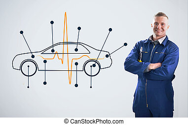 Mechanic standing in front of a background with car diagram...