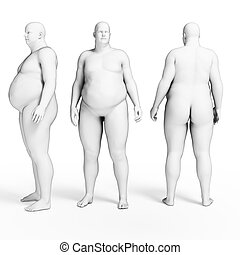 Overweight men - 3d rendered illustration of some overweight...