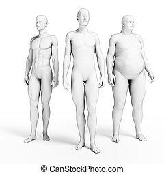 Different men - 3d rendered illustration of some men
