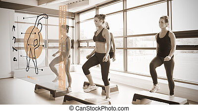 Women workout with orange interface showing them how to do...