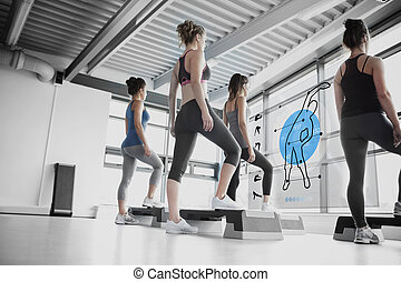 Rear view of women doing exercise with blue futuristic...
