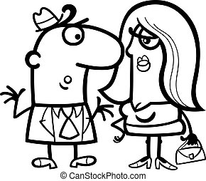 black and white funny couple cartoon